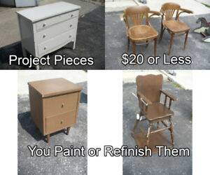 Various PROJECT PIECES And CLEARANCE ITEMS Tables Chairs Wood
