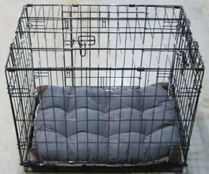 Small Pet Crate with Tall Tails Cushion. Like new.