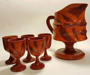 GREAT USED condition hand carved pitcher and cup set