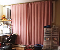 Two pieces of pink curtains, clean and good condition.