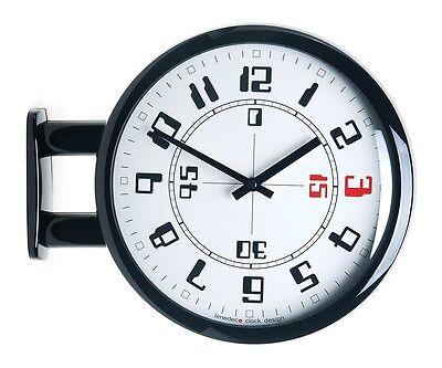 Modern Art Design Double Sided Wall Clock Station Clock Home Decor - MA4Black