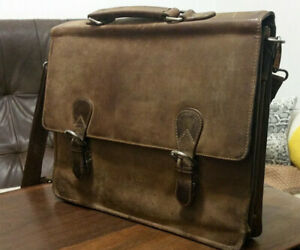 Handmade Buffalo Leather Portfolio Laptop Briefcase