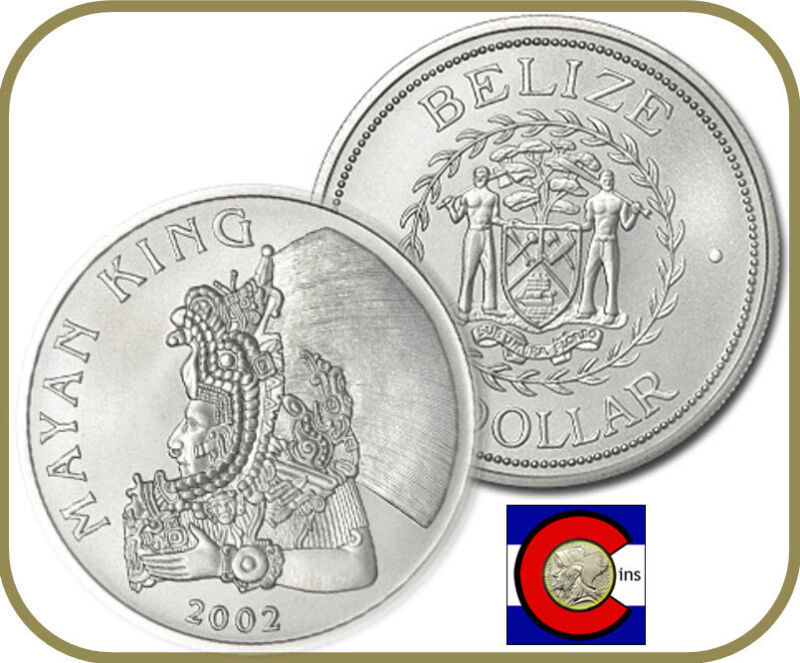 2002 Belize Silver Dollar -- 1 oz Silver Mayan King Coin in airtite capsule