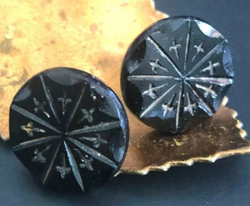 """Button Earrings 1900s Vintage Buttons Fleur de Lis Black Jet Glass Post 3/4"""""""