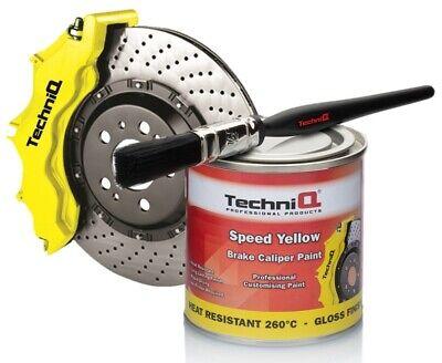 TechniQ 250ml Brake Caliper Paint SPEED YELLOW 260°C High Temperature + Brush