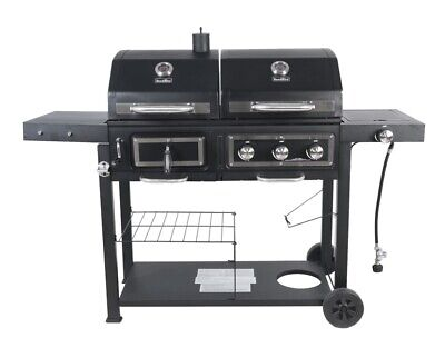 RevoAce Dual Fuel Gas & Charcoal Combo Grill, Black Stainless Steel Outdoor BBQ