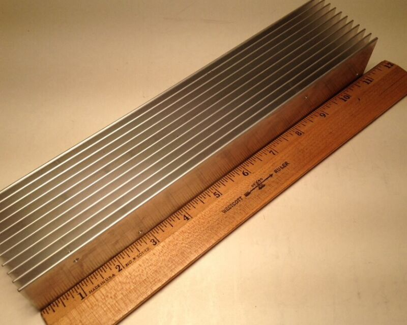 "Large Reclaimed Extruded Aluminum Heatsink 11""x2 1/4"" X1 1/2"" Audio Amp DIY LED"