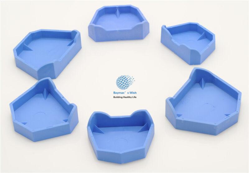 Dental Lab 6 Pcs/1Set Teeth Model Former Base Mold with Notches Impression Tray