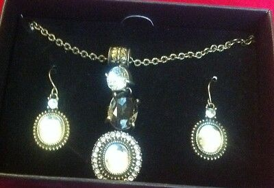 Cabochon Bead Necklace Earrings (Avon Cabochon Accented Drop  Necklace & Earrings)