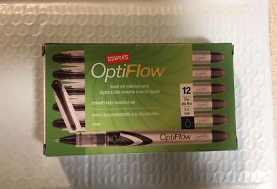 Black Staples Opti Flow Rollerball Pens Conical Fine Point 0.5 Mm 12pk