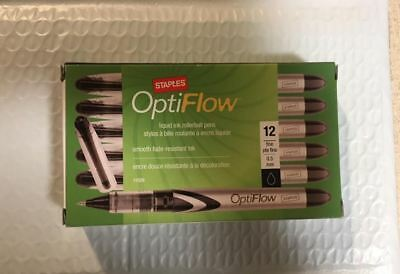 Black Staples Opti Flow Rollerball Pens, Conical Fine Point, 0.5 mm, 12/pk