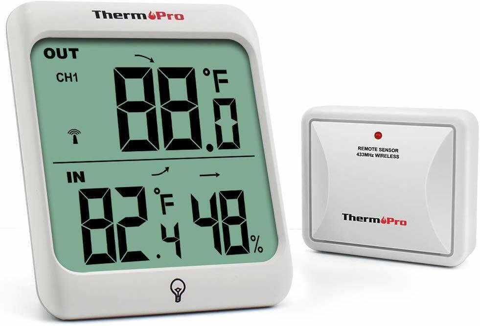 Rechargeable LCD Indoor Outdoor Digital Touchscreen Thermome