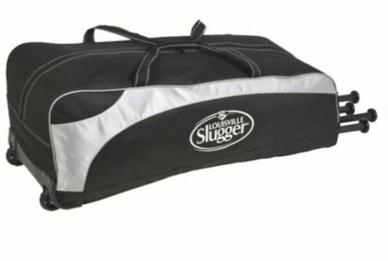 Louisville Slugger Baseball MLB Gamer Rig Wheeled Player Bag New  Black / Gray