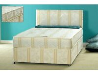 BEAT ANY PRICE ! STANDARD DOUBLE / SMALL DOUBLE DIVAN BED BASE WITH COMFORTABLE MATTRESS