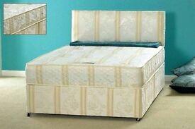 Luxury Black Damask Fabric Double Divan Bed with Black Memory Foam Mattress Brand New