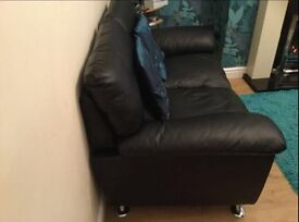 3 + 2 black leather couches couch sofa
