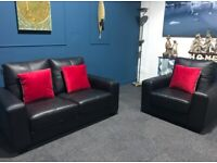 Black leather suite 2 seater sofa and armchair