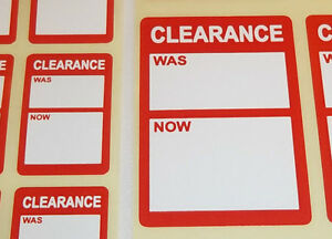 Bright-Red-Clearance-Was-Now-Price-Point-Stickers-Swing-Tag-Sticky-Labels