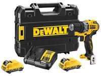 NEW Dewalt 12v Cordless Drill Driver DCD701D2 Charger & 2 - 2Ah Batteries & TSTAK Case