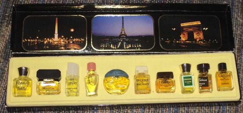 Vintage 10-piece Miniature Perfume Bottles Box Les Meilleurs Parfums De Paris