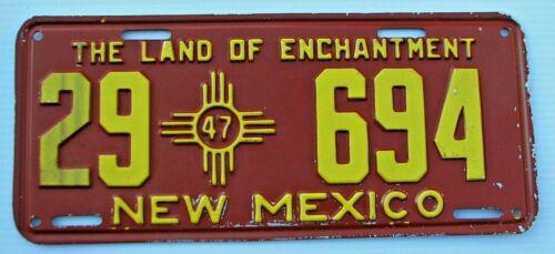 "NICE ! 1947 NEW MEXICO AUTO LICENSE PLATE "" 29  694 "" ORIGINAL CONDITION NM"