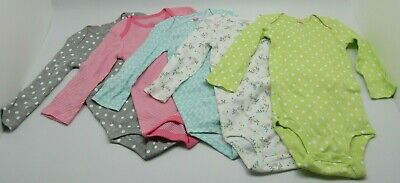5 Brand New Carters Simple Joys Long Sleeve One Piece Body Suits 18 Months