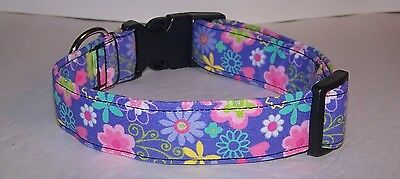 Flowers Dog Collar Collars - Wet Nose Designs Lilac Lovers Floral Dog Collar Flowers Purple Silver Metallic