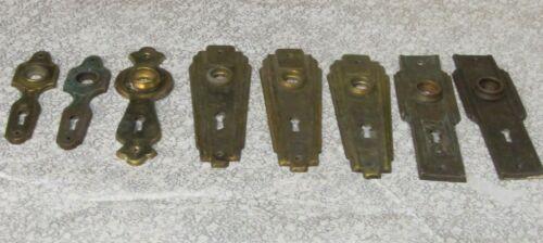 8 Vintage Art Deco Brass Door Face Plates