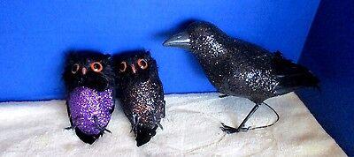 Lot of 4 HALLOWEEN Glittery BIRDS & 1 FUZZY PURPLE SPIDER~Black Crow 2 Owls (Fuzzy Spiders)