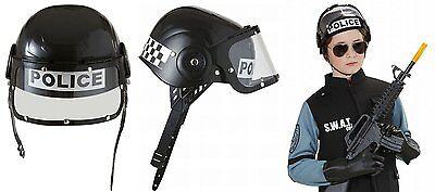 Moderner Kinder Polizeihelm + Visier SWAT Neu+ OVP ! Verkleiden Rollenspiel  ()