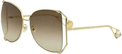NEW GUCCI GG0252S Gold Metal & Pearl Brown Lens Oversized Sunglasses 100% Auth
