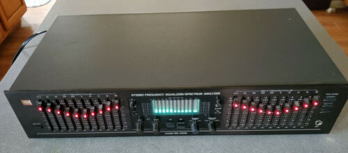 BSR EQ-3000 Stereo Frequency Graphic Equalizer Spectrum Analyzer - Black