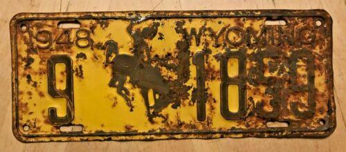 """1948 WYOMING BUCKING BRONCO AUTO LICENSE PLATE """" 9 1859 """" WY 48 WYO"""