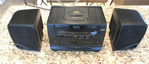 Black portable dvd, tape and tuner player