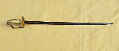 Very Rare Joseph Rogers U S NAVY Eagle Head Blue Toned Etched Sword 1800 -1850