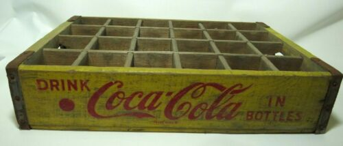 Vtg Yellow Wooden Wood Coca-Cola Coke Soda Crate 24 Pack Bottle 1950