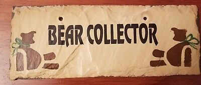 "Hand Made New Orleans Slate Roofing Tile ""Bear Collector"" Sign By Plain Jane"