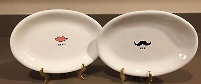 Rae Dunn His and Hers Lips And Mustache Plates 8x5 (Mustache Plates)