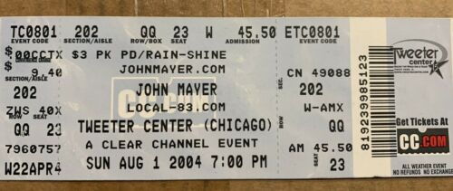 John Mayer Ticket 08/01/04 Tweeter Center Chicago (Tinley Park, IL)
