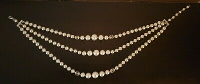 1950s Jewelry Styles and History VINTAGE 50'S FAUX PEARL & CRYSTAL GLASS BEAD MULTI 3 STRAND NECKLACE JAPAN $14.95 AT vintagedancer.com