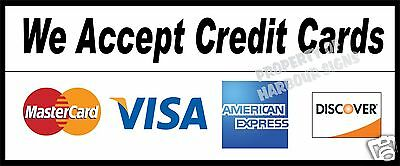 We Accept Credit Cards Decal 12 Concession Food Truck Restaurant Sticker