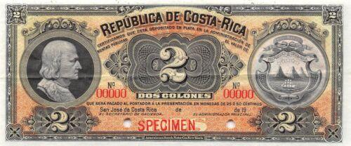 Costa Rica  2 Colones  ND. 19xx  P 146s  Specimen  Uncirculated Banknote