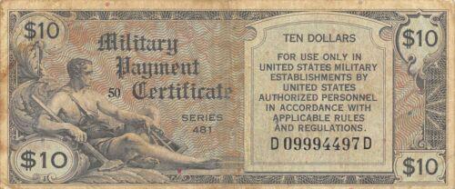USA / MPC  $10   1948  Series  481  Plate 50  Circulated banknote