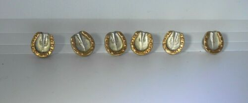 RARE Antique Gucci Horseshoe Button Set of 6 Fine 800 Silver & Yellow Gold Tops!