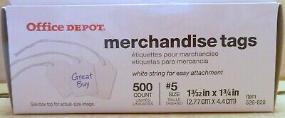 Office Depot Merchadise Price Tags - 5 - 1-332 X 1-34 - 500 Count - White