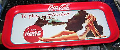 1990 licensed reproduction 1951 coca cola coke soda logo tray woman in swimsuit