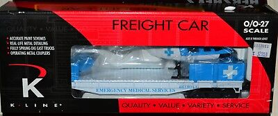 O Scale K-Line K661-8013 EMS Flat Car with Die-Cast Helicopter & Painted Figures for sale  Shipping to Canada