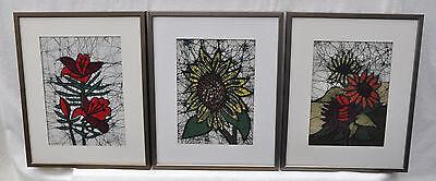 70er Jahre Textilkunst - 3 gerahmte Batiken, Feuerlilie, Sonnenblumen -  Drabsch