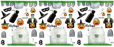 3 Sheets NRN Designs Halloween Headstone Graveyard Frame Scrapbook Stickers