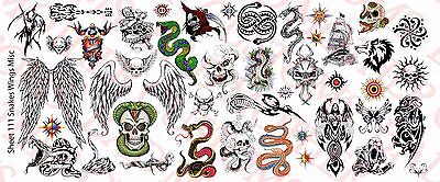 1/6 Scale Custom Tattoos: Snakes Wings and Skulls pack - Waterslide - Snake Scale Tattoo